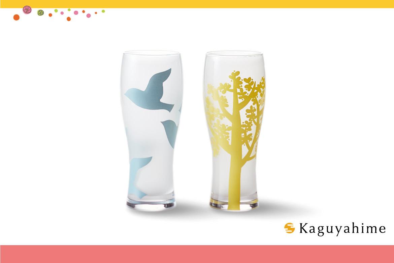 kaguyahime 木と鳥 ペアビアグラス