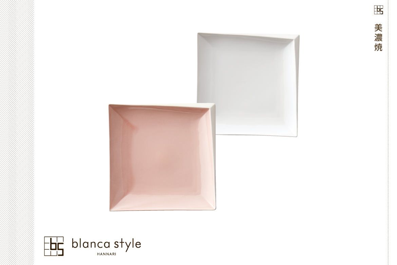 blanca style 京マシュマロ スクエアプレートペア ピンク/ホワイト